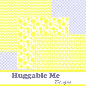 Yellow Scrapbook Paper - Yellow & W..