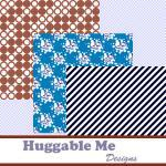 Digital Scrapbook Paper Navy Brown ..