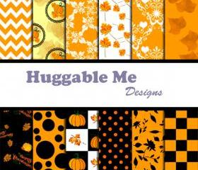 Thanksgiving Digital Papers - Instant Download files for Scrapbook, Thanksgiving, Autumn, Harvest, Invitation Cards 12x12 - HMD00060