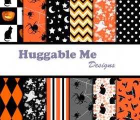 Instant Download Halloween Scrapbook Papers for Digital Background, Halloween, Autumn, Harvest, Invitation, Cards 12x12 - HMD00061