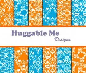 Orange Damask and Blue Damask Digital Scrapbooking Paper for Scrapbook Wedding Invitation Cards 12x12 - HMD00052