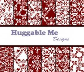 Burgundy Damask Digital Scrapbooking Paper for Scrapbook Wedding Invitation Cards 12x12 - HMD00051