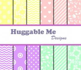 Digital Scrapbooking Paper Pastel Floral Chevron Hearts Stripes Patterns Paper for Baby Girl Scrapbook Invitation Cards 12x12 - HMD00041
