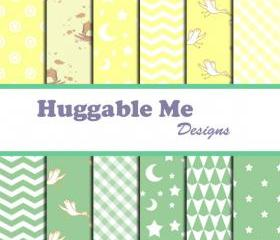Digital Scrapbooking Paper Pastel Mint Yellow Chevron Gingham Stars Dots for Baby Boy Scrapbook Invitation Cards 12x12 - HMD00039