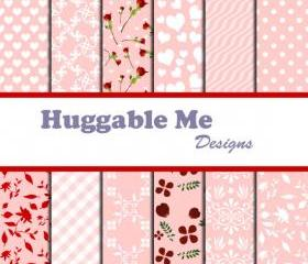 Digital Scrapbooking Paper Red White Pink Digital Valentine Paper for Wedding Scrapbook Cards Backgrounds 12x12 - HMD00029