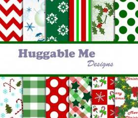 Digital Scrapbook Paper Christmas Holiday Digital Paper for Scrapbook Invitation Cards Gift Wrapping 12x12 - HMD00016