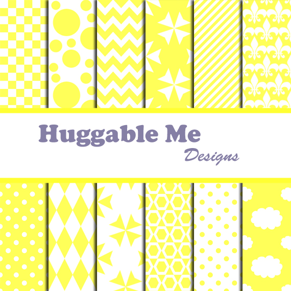 Yellow Scrapbook Paper - Yellow & White Digital Papers for Wedding, Scrapbook Printables, Cards 12x12 - HMD00058