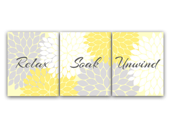 DIGITAL DOWNLOAD - Bathroom Art, Relax Soak Unwind, INSTANT DOWNLOAD Set of 3 Bath Art Prints, Printable Modern Bathroom Decor, Yellow Bathroom Decor - BATH49