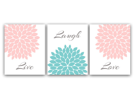 DIGITAL DOWNLOAD - Nursery Wall Art, Printable Bathroom Art, Live Laugh Love, Pink Nursery Decor, Flower Burst Artwork, Instant Download - HOME21