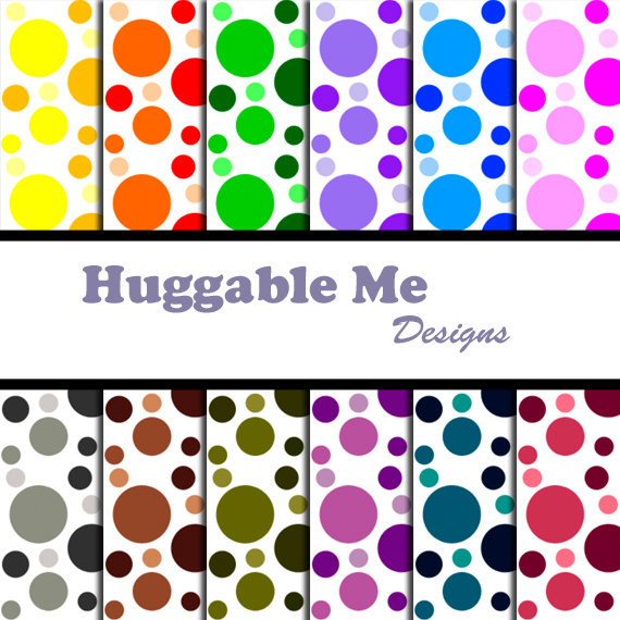 Digital Scrapbooking Paper Polka Dot Paper for Scrapbooking Card Making and Digital Backgrounds 12x12 - HMD00047