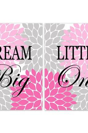 DIGITAL DOWNLOAD - Dream Big Little One, Nursery Quote Art, INSTANT DOWNLOAD Nursery Wall Decor, Pink Grey Nursery Decor, Girls Room Art - KIDS164