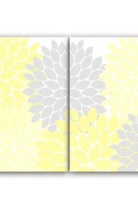 DIGITAL DOWNLOAD - Home Decor Wall Art, INSTANT DOWNLOAD Yellow and Grey Flower Burst Art, Bathroom Wall Decor, Yellow Bedroom Decor, Nursery Wall Art - HOME66