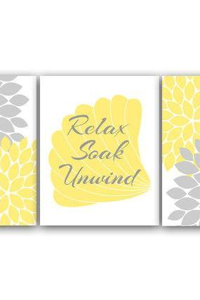 DIGITAL DOWNLOAD - Bathroom Wall Art, Yellow and Gray Bathroom Decor, Relax Soak Unwind, INSTANT DOWNLOAD Bath Art, Printable Modern Bathroom Decor - BATH31