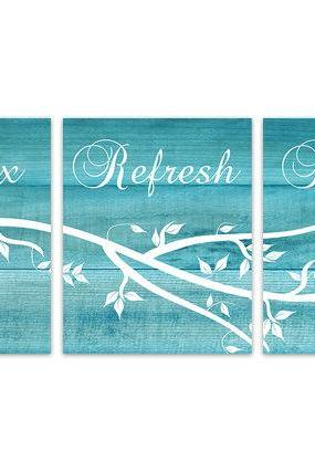 DIGITAL DOWNLOAD - Relax Soak Unwind, Instant Download Bathroom Quote Art, Turquoise Bathroom Wall Art, Aqua Wood Effect Wall Art Prints - BATH103