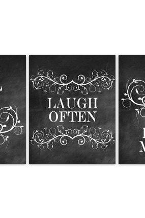 DIGITAL DOWNLOAD - Bedroom Wall Decor, Live Well Laugh Often Love Much, INSTANT DOWNLOAD Bedroom Art, Kitchen Wall Art, Chalkboard Art, Home Decor - HOME102