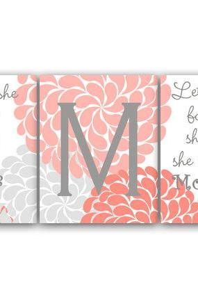 DIGITAL DOWNLOAD - Nursery Wall Art, Though She Be But Little, Let Her Sleep, DIGITAL DOWNLOAD Kids Wall Art, Nursery Quote Art, Coral Nursery Decor - KIDS113