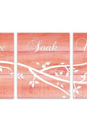 DIGITAL DOWNLOAD - Relax Soak Unwind, Instant Download Bathroom Quote Art, Coral Bathroom Wall Art, Coral Wood Effect Wall Art Prints - BATH107