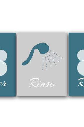 DIGITAL DOWNLOAD - Bathroom Wall Art, Lather Rinse Repeat, Set of 3 Bath Art Prints, Printable Modern Bathroom Decor, Gray & Teal Bathroom Decor - BATH15