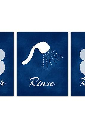 DIGITAL DOWNLOAD - Lather Rinse Repeat, Shower Art Prints, Blue Bathroom Wall Art, Set of 3 Bath Art Prints, Navy Bathroom Decor - BATH112