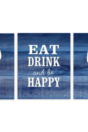 DIGITAL DOWNLOAD - Navy Kitchen Wall Art, INSTANT DOWNLOAD, Fork Spoon Knife Art, Wine Art Print, Dining Room Art, Eat Drink and Be Happy Quote - HOME152