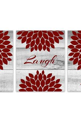 DIGITAL DOWNLOAD - Red and White Bedroom Wall Art, INSTANT DOWNLOAD Bathroom Art, Live Laugh Love, Red Home Decor, Flower Burst Artwork - HOME150