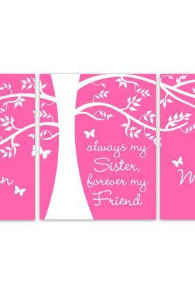 DIGITAL DOWNLOAD - Sisters Wall Art, Sisters Quote, DIGITAL DOWNLOAD Kids Name Art, Twins Room Decor, Hot Pink Girls Room Decor - KIDS148