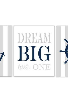 DIGITAL DOWNLOAD - Nautical Nursery Decor, INSTANT DOWNLOAD Dream Big Little One Nautical Wall Art, Grey Nursery, Kids Room Decor - KIDS162