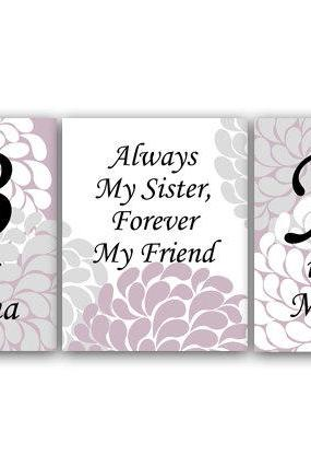 DIGITAL DOWNLOAD - Sisters Wall Art, Sister Quote, DIGITAL DOWNLOAD Wall Art, Personalized Kids Wall Art, Kids Name Art, Girls Room Decor - KIDS42