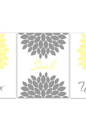 DIGITAL DOWNLOAD - Bathroom Art, Relax Soak Unwind, INSTANT DOWNLOAD Set of 3 Bath Art Prints, Modern Bathroom Decor, Yellow and Grey Bathroom Decor - BATH60
