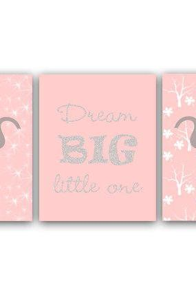 DIGITAL DOWNLOAD - Baby Girls Nursery Decor, Dream Big Little One Quote Print, Pink Elephant Art Print, Elephant Nursery Art, Printable Kids Art - ANI6