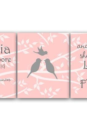 DIGITAL DOWNLOAD - Birth Stats Wall Art Though She Be But Little DIGITAL DOWNLOAD Pink Nursery Decor Girls Room Art Set of 3 Nursery Print - KIDS121