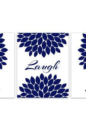 DIGITAL DOWNLOAD - Bedroom Wall Art, INSTANT DOWNLOAD Bathroom Art, Live Laugh Love, Blue Home Decor, Navy Blue Flower Burst Artwork - HOME107