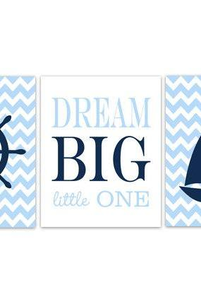 DIGITAL DOWNLOAD - Nautical Nursery Decor, INSTANT DOWNLOAD Dream Big Little One Nautical Wall Art, Blue Chevron Kids Room Decor, Sailboat Art - KIDS161
