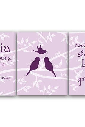 DIGITAL DOWNLOAD - Birth Stats Wall Art Though She Be But Little DIGITAL DOWNLOAD Lavender Nursery Decor Girls Room Art Set of 3 Nursery Print - KIDS120