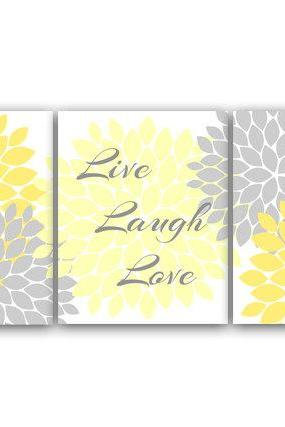 DIGITAL DOWNLOAD - Bedroom Wall Art, Live Laugh Love, Instant Download Bath Art, Printable Modern Bedroom Wall Decor, Yellow and Gray Bedroom Decor - HOME29