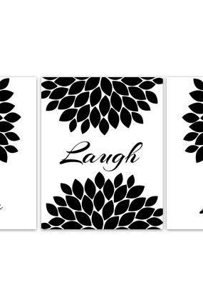 DIGITAL DOWNLOAD - Live Laugh Love Wall Art, INSTANT DOWNLOAD Black and White Bedroom Decor, Quote Art Print, Living Room Art, Modern Home Decor - HOME92