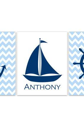DIGITAL DOWNLOAD - Nautical Nursery Wall Art DIGITAL DOWNLOAD Blue Chevron Nursery Personalized Boy Nursery Art Sailboat Print Anchor Art - KIDS137