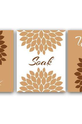 DIGITAL DOWNLOAD - Bathroom Wall Art, Relax Soak Unwind, Set of 3 Bath Art Prints, Printable Modern Bathroom Art, Brown Bathroom Decor - BATH7