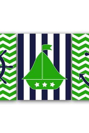 DIGITAL DOWNLOAD - Nautical Nursery Wall Art, INSTANT DOWNLOAD Nursery Decor, Sailboat Nursery Print, Anchor Art, Lime Green and Navy Nursery - KIDS53