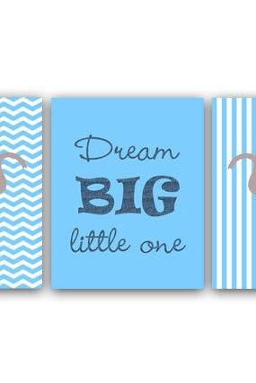 DIGITAL DOWNLOAD - Elephant Nursery Wall Art, Dream Big Little One, Blue Elephant Art Print, Kids Wall Art, Modern Nursery Art, Instant Download - ANI7