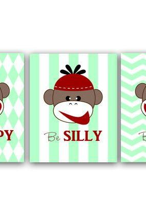 DIGITAL DOWNLOAD - Monkey Art Print for Baby Boy Nursery, Monkey Wall Art for Playroom Decor and Nursery Decor, Instant Download - ANI12