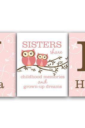DIGITAL DOWNLOAD - Nursery Wall Art, Twins Art, Sisters Wall Art, Sister Quote, DIGITAL DOWNLOAD Girls Monogram Art, Girls Room Decor - KIDS110