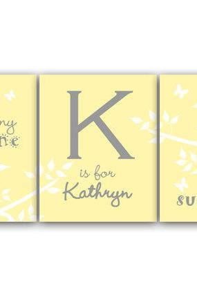 DIGITAL DOWNLOAD - Nursery Wall Art, You Are My Sunshine, My Only Sunshine, DIGITAL DOWNLOAD Girls Monogram, Birds in a Tree Art, Yellow Nursery - KIDS124