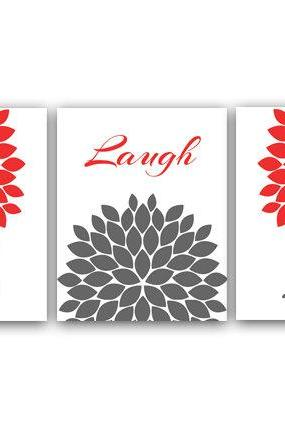 DIGITAL DOWNLOAD - Home Decor Wall Art, Live Laugh Love, Coral and Gray Art, Digital Download, Flower Burst, Printable Wall Art - HOME17