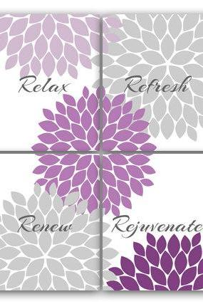 DIGITAL DOWNLOAD - Relax Refresh Renew, INSTANT DOWNLOAD Bath Art, Bathroom Wall Art, Printable Modern Bathroom Decor, Purple and Gray Bathroom Decor - BATH47