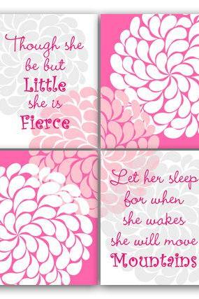 DIGITAL DOWNLOAD - Let Her Sleep She Will Move Mountains Nursery Wall Art INSTANT DOWNLOAD Nursery Quote She Is Fierce Nursery Wall Decor - KIDS119