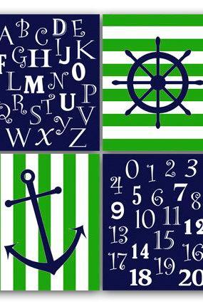 DIGITAL DOWNLOAD - Nautical Nursery Wall Art, INSTANT DOWNLOAD Lime Green and Navy Nursery Art, Anchor Nursery Decor, Nursery Alphabet Art - KIDS65