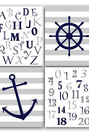 DIGITAL DOWNLOAD - Navy and Gray Nautical Nursery Wall Art, INSTANT DOWNLOAD Nursery Print, Alphabet Art, Nautical Kids Art, Modern Nursery Art - KIDS63