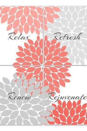 DIGITAL DOWNLOAD - Bathroom Wall Art, Relax Refresh Renew, INSTANT DOWNLOAD Bath Art, Printable Modern Bathroom Decor, Coral and Gray Bathroom Decor - BATH53