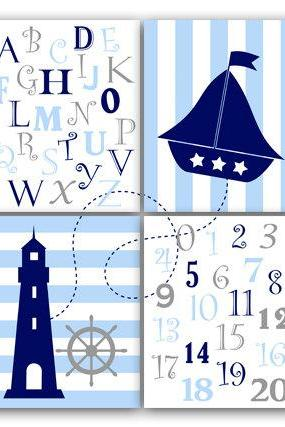DIGITAL DOWNLOAD - Nautical Nursery Wall Art, INSTANT DOWNLOAD Blue Nursery Art, Alphabet Art Nursery, Nautical Number Art - KIDS67